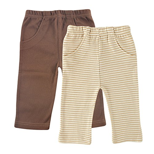 Touched by Nature Baby Organic Striped Pants 2 Pack, Tan/Brown, 6-9 Months