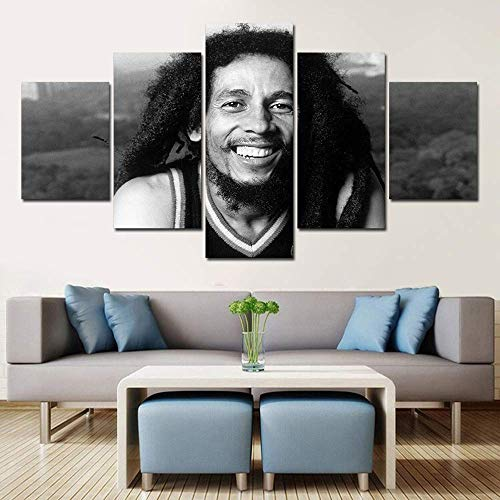 ZZXINK Decorative Painting 5 Piece HD Printed bob marley black white Painting Canvas Print Room Decor Poster Picture Canvas Art