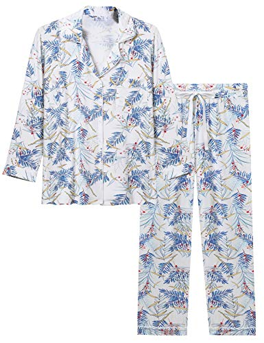 Print Pyjama Bottoms - Joyaria Womens Soft Bamboo Pajama Sets Button Down Long Sleeve Pj Pants Set Sleepwear (Bamboo Leaf,Small)