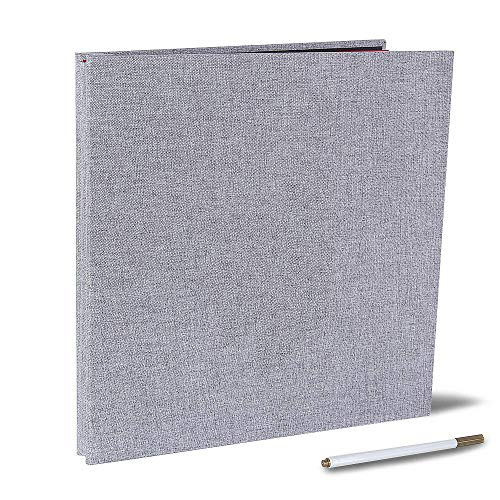 Self Adhesive Photo Album Magnetic Scrapbook Album 40 Pages Linen Hardcover Length 11 x Width 10.6 (Inches) with A Metallic Pen and Photo Album Storage Box DIY Accessories Kits (Grey) (Album Thin Photo)