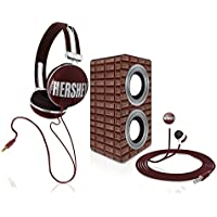 Candeez® Stereo Combo Pack, Stereo Headphones, Earbuds, and Speakers good for iPhone, iPad, iPod, Smartphones, Tablets, Laptops and more - Hersheys