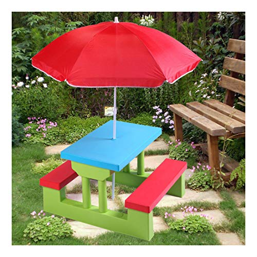 4 Seat Kids Picnic Table w/Umbrella Garden Yard Folding Bench Children Outdoor by Unknown