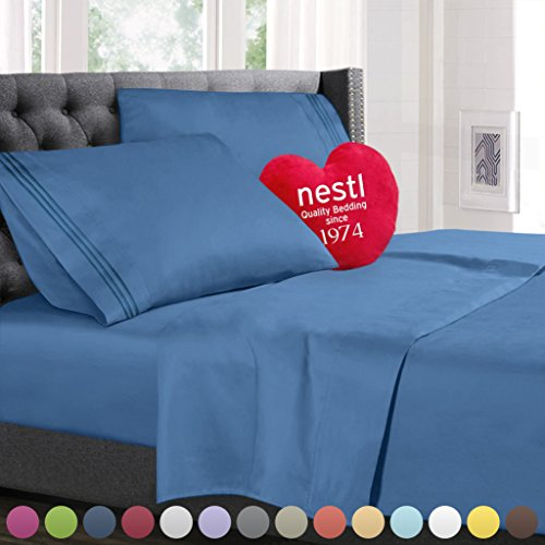 Call King Size Bed Sheets Set Blue Heaven, Highest Quality Bedding Sheets Set on Amazon, 4-Piece Bed Set, Deep Pockets Fitted Sheet, 100% Luxury Soft Microfiber, Hypoallergenic, Cool & Breathable (Flat Sheet King Blue)