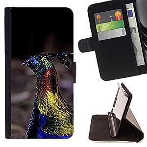- peacock bird vibrant blue spring gold - - Prima caja de la PU billetera de cuero con ranuras para tarjetas, efectivo desmontable correa para l Funny HouseFOR Sony Xperia m55w Z3 Compact Mini