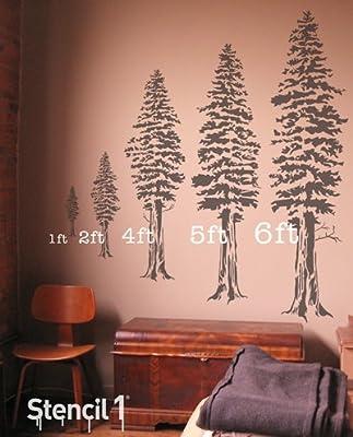 Stencil1 Redwood Tree 60 Inch Stencil