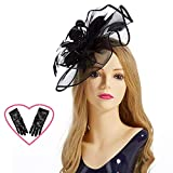 Fascinator Hat,Aiskki Fascinator Headband Feather Mesh Net Hat With Hairband and Gift Gloves,Tea Party Headwear,Flower Derby Hat with Clip,Kentucky Derby Hats for Women(Black)