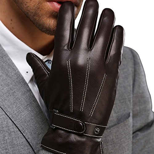 Harrms Best Luxury Touchscreen Italian Nappa Leather Gloves for men's Texting Driving (XL-9.4