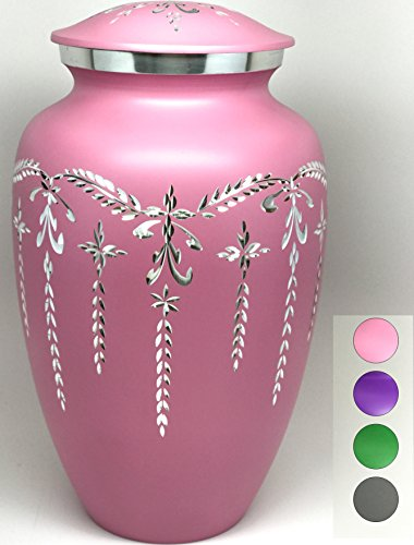 Cremation Urn - Colorful Funeral Urn in Four Options: Pink, Green, Purple or Grey - Large Burial Urn for Human Ashes Adult Size - Aluminum (Pink) (Urn Pink)