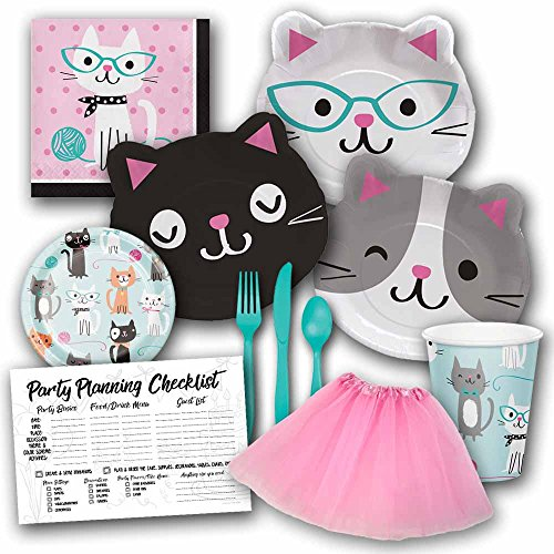 Purr-fect Party Cat Birthday Party Supplies Set for Girls - Serves 8 Guests