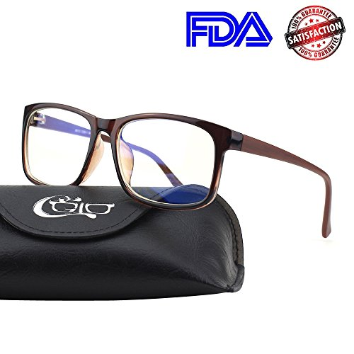 Shield Brown Lens - CGID CT12 Blue Light Blocking Glasses, Anti Glare Fatigue Blocking Headaches Eye Strain, Safety Glasses for Computer/Phone, Vintage Rectangle Brown Frame,Transparent Lens