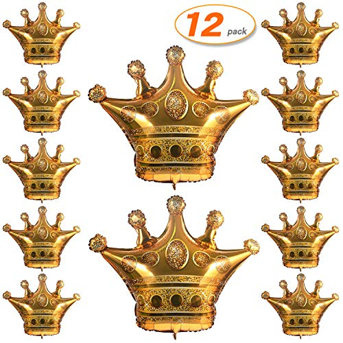 12 Pcs Large Crown Balloons Large Gold Foil Helium Airballoons for Wedding Baby Shower Birthday Festival Party Dcoration 35.4 inch x 31.4 inch