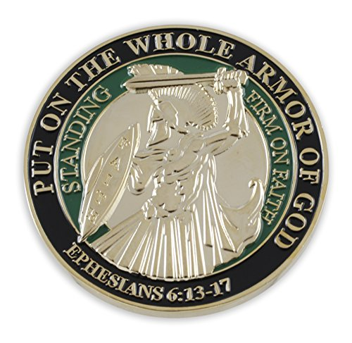 Forge Put On The Whole Armor of God EPH 6:13-17 Enamel 3D Challenge Coins (Gold Plated (1 Coin))
