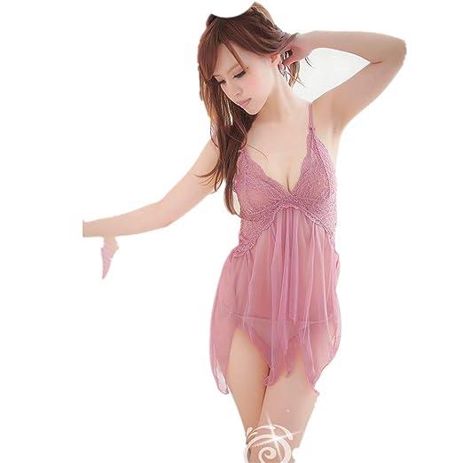 VJGOAL Moda Mujer Sexy Sweet Racy Hollow Perspectiva tentación Ropa Interior erótica Vestido de Encaje Babydoll Dress Tangas(Un tamaño, Negro): Amazon.es: ...