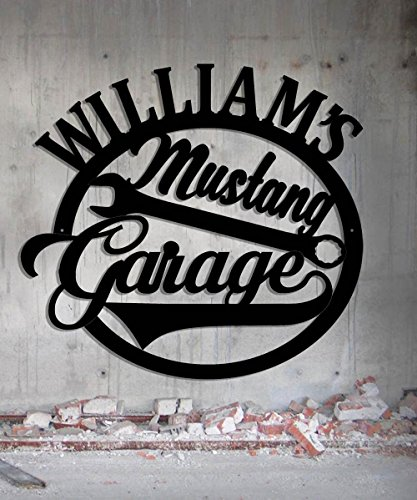 Mustang Hot Rod Garage - Personalized Workshop Sign - Metal Wall Art- Customize It!- Metal Wall Art Man Cave Grandpa