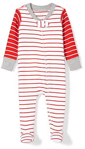 Moon and Back Baby Organic Footed Zip-Front Sleep and Play, red/White Stripe Newborn ()