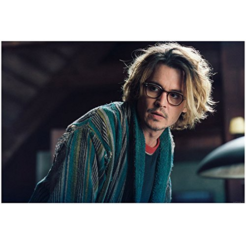 Johnny Depp 8x10 Photo The Secret Window Leaning Over Wearing Glasses & Blue Striped Robe ()