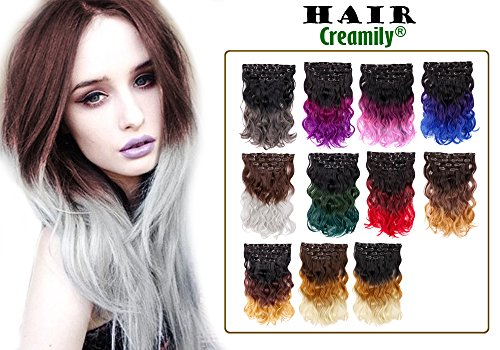 Creamily Ombre Dip-dye Color Clip in Body Wave Synthetic Hair Extension 20 Inches for a Full Head
