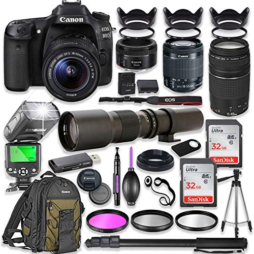 Canon EOS 80D DSLR Camera with 18-55mm Lens Bundle + Canon EF 75-300mm III Lens, Canon 50mm f/1.8 & 500mm Lens + TTL Flash + Canon Backpack + 64GB Memory + Monopod + Professional Bundle …