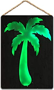 MaMichaelyod Pallet Wood Palm Tree Sign Lighted Rustic Wood Sign Beach Decor Theme 8x12 inch / 20x30 cm