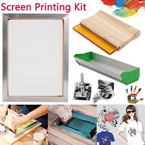 yanbirdfx 5Pcs/Set Screen Printing Kit Aluminum Frame+Hinge Clamp+Emulsion Coater+Squeegee]()