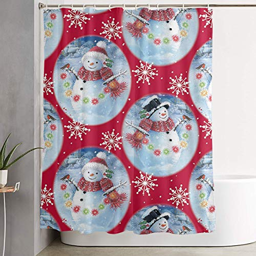 YOFFYO Bathroom Showers and Bathtubs Shower Curtains with Rustproof Grommets Holes Mold/Spa Curtain - (Snowman in Crystal Ball)