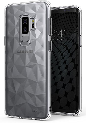 Ringke Air Prism Compatible with Galaxy S9 Plus Case 3D Vogue Design Chic Ultra Rad Pyramid Stylish Diamond Pattern Flexible Textured Protective TPU Cover for Galaxy S 9 Plus (2018) - Clear