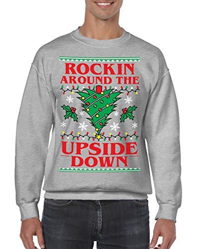SpiritForged Apparel Rockin' Around The Upside Down Crewneck Sweater, Light Gray Large
