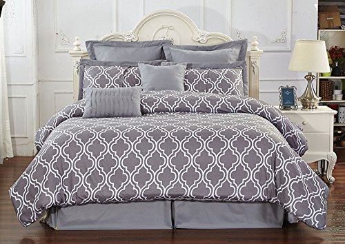 8 Piece Reversible Pinch Pleat Comforter Set Super Soft, Queen, Grey