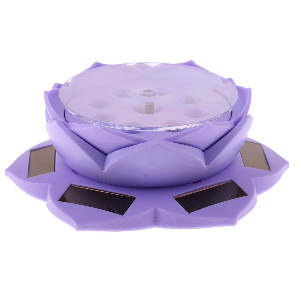 Dovewill Lotus Lamp Solar Powered 360° Rotating Jewellery Ring Phone Display Holder Organizer Decorative Purple