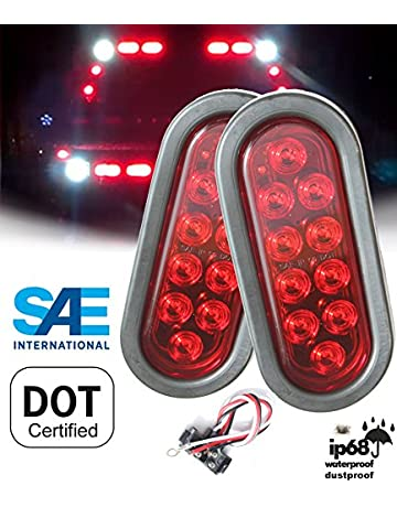 autosmart 2pcs red oval sealed led turn signal and parking light kit with  light, grommet