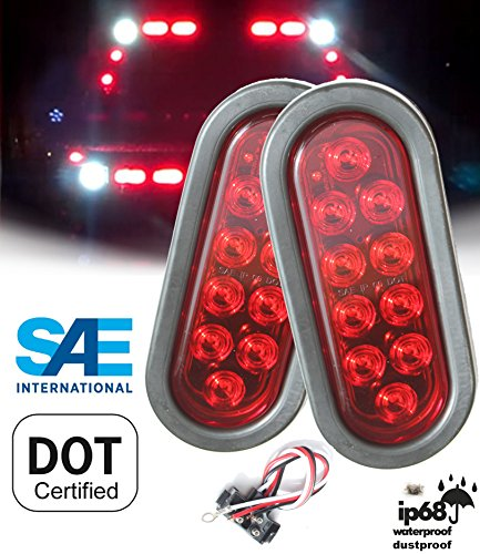 AUTOSMART  2PCS Red Oval Sealed LED Turn Signal and Parking Light Kit with Light, Grommet and Plug for Truck, Trailer (Turn, Stop, and Tail Light) ()