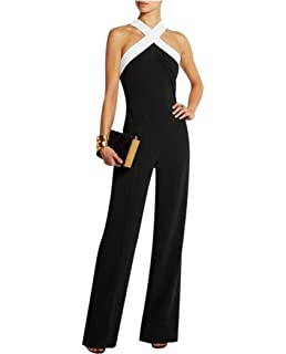 eab8cba814f2 Aro Lora Women s Sexy V Neck Sleeveless Backless Long Wide Leg Pant Jumpsuit  Romper