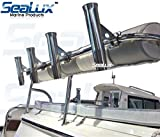 SeaLux Marine Boat Rail Mount Clamp-On Fishing Rocket Launcher Rod Holder 7/8″ to 1″ Horizontal Mount