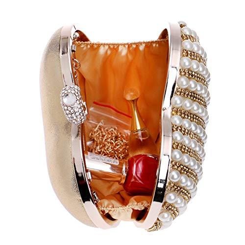 Womens Ladies Evening Wedding Pearls Wallet Chain Bags Bags Gold Clutch Dress Purse Shoulder qBOWEZOxf