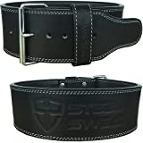 "Steel Sweat Powerlifting Belt Weight Lifting - 4"" Wide 10mm Thick - Single Prong Heavy Duty Adjustable Weightlifting Belt, High Grade Leather - Bolt Black"