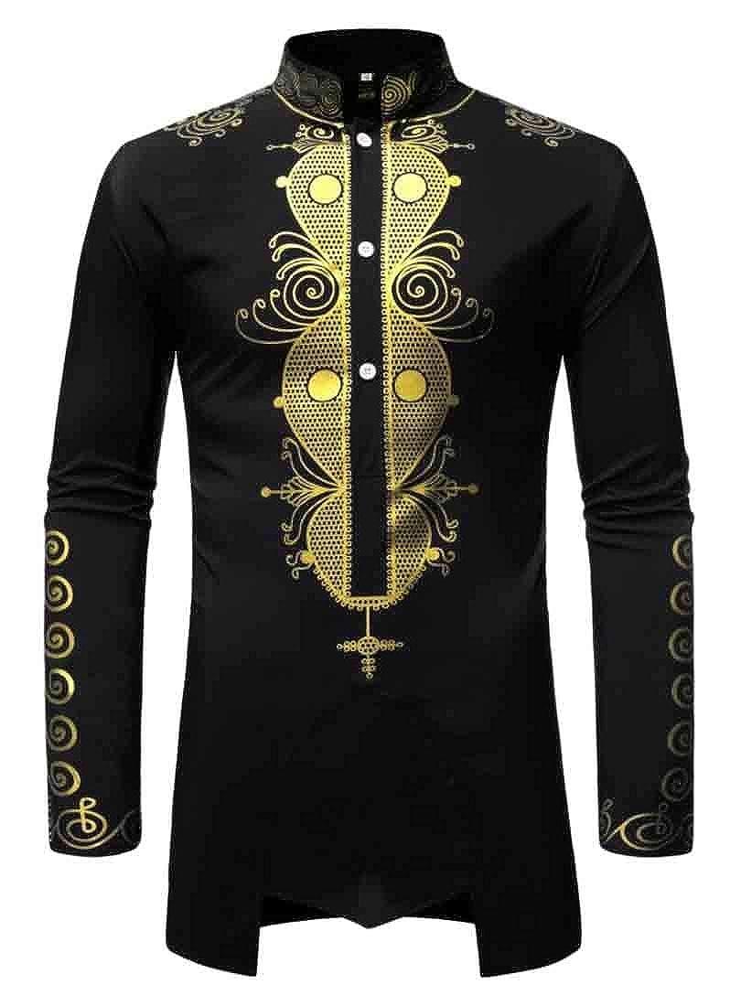 YYear Mens African Print Dashiki Stand Collar Irregular Long Sleeve Fashion Casual Dress Work Shirt