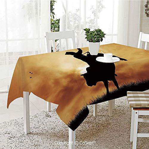 Wrinkle Free and Stain Resistant Tablecloth,Bull Rider Silhouette at Sunset Dramatic Sky Rural Countryside Landscape Rodeo Decorative,Spill Proof,Machine Washable,Tablecloth for Use(55.11