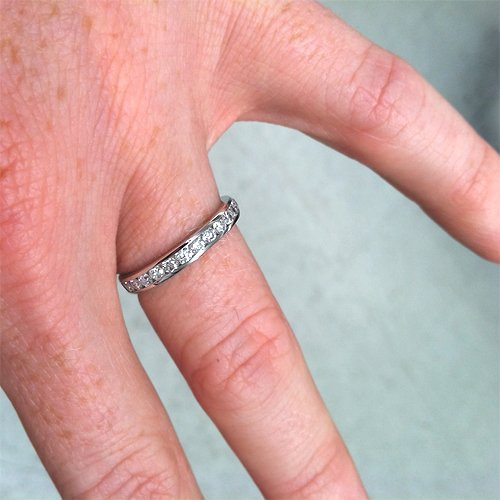 1 1/2ct Channel Set Diamond Eternity Ring 14K White Gold