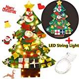 beautiful christmas decorations Coxeer Felt Christmas Tree, 3.28FT DIY Christmas Tree with LED String Lights 16.4 ft with 50 LEDs and 30 PCS Ornaments for Kids Xmas Gifts Home Door Wall Decoration