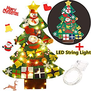 Coxeer Felt Christmas Tree, 3.28FT DIY Christmas Tree with LED String Lights 16.4 ft with 50 LEDs and 30 PCS Ornaments…