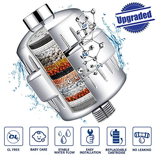 Upgraded Shower Filter, 15-Stage Shower Water Filter with Replaceable Cartridge, Powerful Removes Chlorine, Fluoride, Sulfur Odor, Softens Hard Water - Boosts Hair and Skin Health