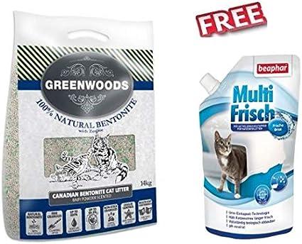 Greenwoods Arcilla Natural para Gatos Zeolite, 2 x 14 kg, Absorbe olores desagradables y bacterias, Potente Arcilla de Cloro, Libre de Polvo, Natural Libre de Baba Multi Fresca para inodoros de Gatos: