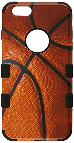 Asmyna Tuff Hybrid Phone Protector Cover for iPhone 6 Plus - Retail Packaging - Basketball-Sports Collection/Black