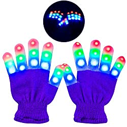 Light Up Purple Gloves With 3 Colors 6 Modes Flashing