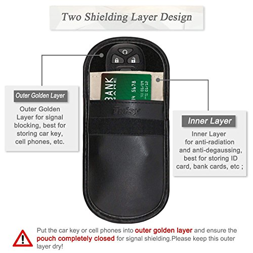Tuisy Signal Blocker for Car Keys Cellphone - 2X Signal Blocking Pouch Case  Block RFID/WiFi/GSM/LTE/NFC Faraday Bag Antitheft Fob Guard Credit Card