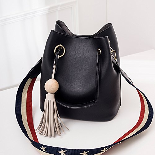 GUANGMING77 Farbe Bucket Bag_Color Composite Bucket Bag Wide Band Portable Schulter Diagonal Tide Black