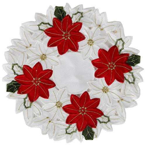 Home-X Embroidered Poinsettia Doily,