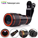 Phone Camera Lens Kit, Phone Camera Lens Telephoto Kit 12X Zoom Telephoto Universal Clip On Smart Cell Phone Camera Accessories