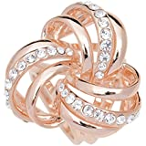 S&E Women's Elegant Three Ring Rhinestone Metallic Scarves Clip Fashionable Scarves Ring Chiffon Buckle