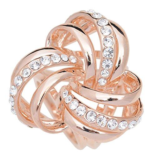 S&E Women's Elegant Three Ring Diamante Metallic Silk Scarves Clip Fashionable Scarf Ring Chiffon Buckle (Rsoe Gold)